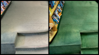 Before and after cleaning images of drastic color change of commercial carpets