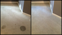 Before and after images of a grease stain removed from a residential carpet
