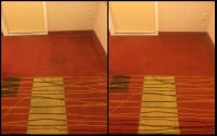 Before and after images of low moisture bonnet (carpet) cleaning in hotel