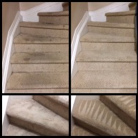 Before and after images of deep cleaning a residential staircase